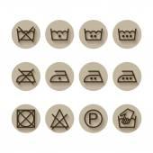 Instruction laundry, dry, cleaning, care icons, washing symbols, set — Stock Vector