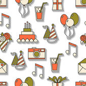 Seamless holiday pattern, happy birthday, festive background for design — Stock Vector