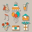 Holiday flat icons, festive signs and symbols — Stock Vector #69594447