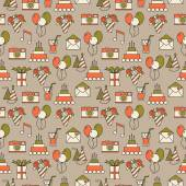 Seamless holiday pattern, festive background — ストックベクタ