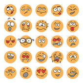 Set of hand drawn emoticons, doodle characters — Stock Vector