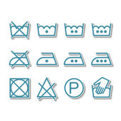 Instruction laundry, dry cleaning, care icons, washing symbols — Stock Vector