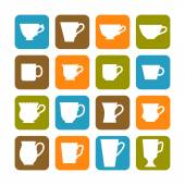Set of flat mugs on a colored background. Signs and symbols of dishes for beverages — Stock Vector