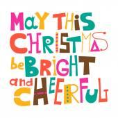 Boże Narodzenie może być jasny i wesoły. Życzenia bożonarodzeniowe. Literowanie — Wektor stockowy