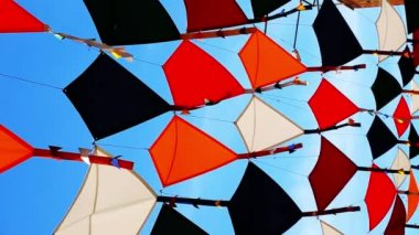 Background colorful street decoration,Madrid — Stock Video