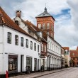 Empty morning street with old houses from royal town Ribe in Den — Stock Photo #52624169