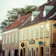 Empty morning street with old houses from royal town Ribe in Den — Stock Photo #52624395