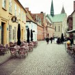 Empty morning street with old houses from royal town Ribe in Den — Stock Photo #52624561