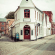 Empty morning street with old houses from royal town Ribe in Den — Stock Photo #52624631
