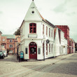 Empty morning street with old houses from royal town Ribe in Den — Stock Photo #52624669