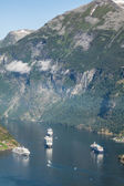 Cruise ship in Geiranger fjord, Norway  August 5, 2012 — Stock Photo