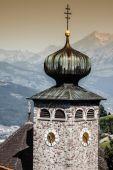 Downtown of Liechtenstein kingdom capital,Vaduz, tiny country in — Stock Photo