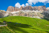 Panorama of Sella mountain range from Sella pass, Dolomites, Ita — Stock Photo