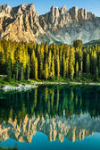 Carezza lake, Val di fassa, Dolomites, Alps, Italy — Stock Photo