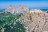 View to Punta Grohmann, Cinquue Dita, Sasso Lungo, Piz Ciavaces  — Stock Photo