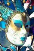 Carnival masks of the world most famous grand canal venice histo — Foto Stock