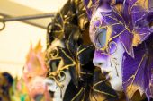 Carnival masks of the world most famous grand canal venice histo — Zdjęcie stockowe