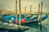 Gondolas moored by Saint Mark square. Venice, Italy, Europe — Stock Photo