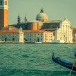 Venice, Italy,August 9, 2013: Traditional Gondola on Canal Grand — Stock Photo #54998567