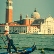 Venice, Italy,August 9, 2013: Traditional Gondola on Canal Grand — Stock Photo #54998729