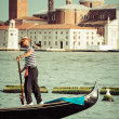 Venice, Italy,August 9, 2013: Traditional Gondola on Canal Grand — Stock Photo #54998739