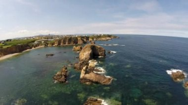 Aerial footage of coastline of Galicia - Beautiful beach in the north of Spain — Stock Video