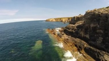 Aerial footage of coastline of Galicia - Beautiful beach in the north of Spain — Стоковое видео