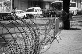 Barbed wire on the streets of capital on Tunis city, Tunisia, Af — Stock Photo