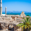 Ancient ruins at Carthage, Tunisia with the Mediterranean Sea in — Stock Photo #55627399