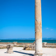 Ancient ruins at Carthage, Tunisia with the Mediterranean Sea in — Stock Photo #55628697