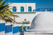Cafe with beautiful view on Sidi Bou Said harbour — Stock Photo