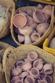 Rustic handmade ceramic clay brown terracotta cups souvenirs at  — Stock Photo
