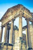 Remaining of the roman City of Dougga with the Capitol, Tunisia — Stock Photo