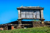 Pravia, old wooden building used as barn. Asturias, Spain — Stock Photo