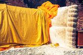 Giant reclining buddha statue feet at Wat Lokayasutharam Ayuttha — Stock Photo