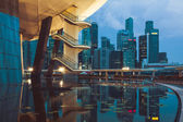 Singapore,December 20,2013: View of the city skyline at night in — Stock Photo