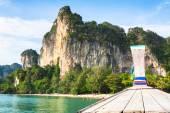 Boat swims to the island,Krabi,Thailand — Stock Photo