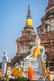 Ancient Buddha statue at Wat Yai Chaimongkol in the historical c — Stock Photo