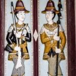 Thai style molding art on the door at Wat Phra Kaew temple, Thai — Stock Photo #65148789