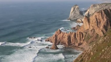 Cape Cabo da Roca at Atlantic coast, Portugal, is the westernmost mainland coast of Portugal and continental Europe — Stock Video