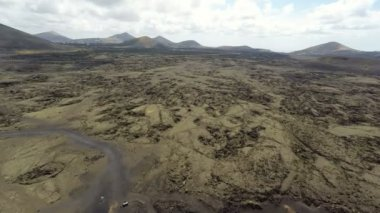 Aerial video footage of the Volcanic Landscape on the Island of Lanzarote — Stock Video