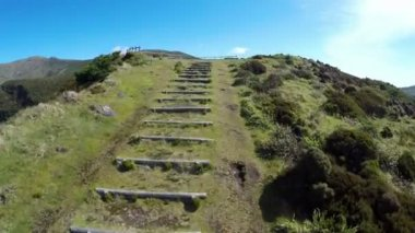 Aerial video footage of the calderira negra,Flores island on the volcano in azores, Fayal, Portugal — Vidéo