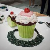 Necklace and ice cream on display at HOMI, home international show in Milan, Italy — Stock Photo