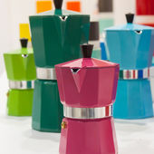 Pantone moka pots on display at HOMI, home international show in Milan, Italy — Stock Photo