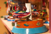 Vintage tinplate toys on display at HOMI, home international show in Milan, Italy — Stok fotoğraf