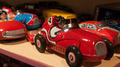 Vintage tinplate toys on display at HOMI, home international show in Milan, Italy — Stock Photo