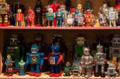 Vintage tinplate robots on display at HOMI, home international show in Milan, Italy — Stok fotoğraf