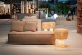 Couch on display at HOMI, home international show in Milan, Italy — Zdjęcie stockowe