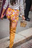 Detail of a bag outside Byblos fashion shows building for Milan Women's Fashion Week 2014 — Stock Photo