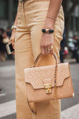Detail of bag outside Armani fashion shows building for Milan Women's Fashion Week 2014 — Stock Photo
